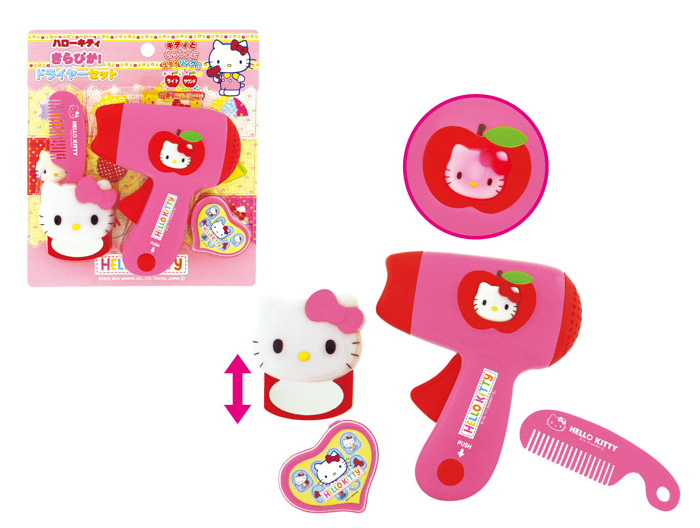 玩具_Hello Kitty-吹風機鏡梳組玩具