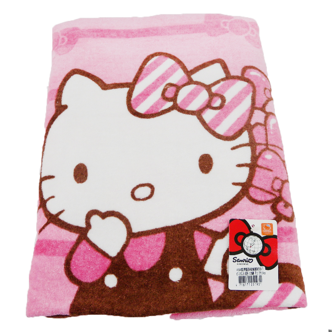 衛浴用品_Hello Kitty-特大印花浴巾-斜紋蝴蝶結