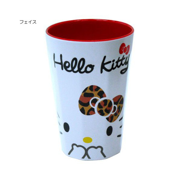 茶具杯子_Hello Kitty-美耐皿長杯-白底豹紋結