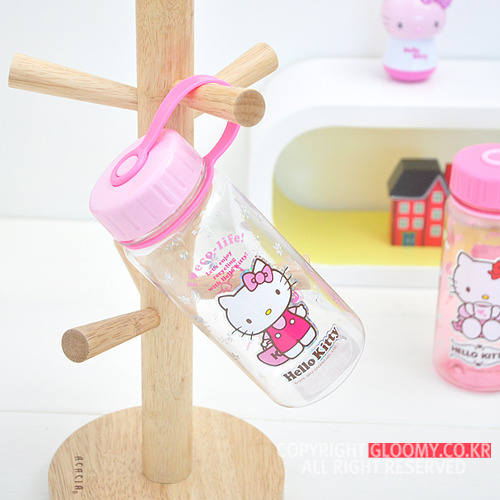 水壼_Hello Kitty-透明水瓶400ML-提粉袋