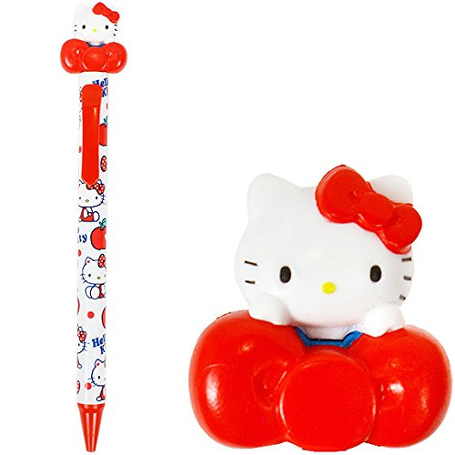 筆用品_Hello Kitty-造型原子筆-KT立偶抱紅結