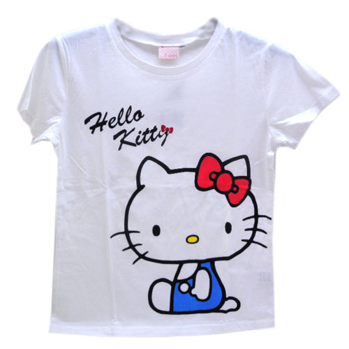 Hello Kitty_Hello Kitty-綿T-藍衣坐姿L