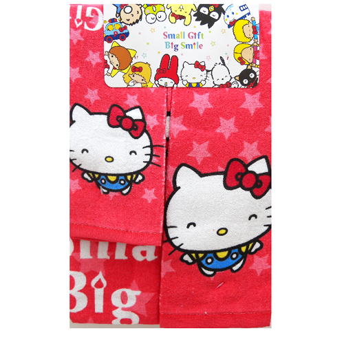 衛浴用品_Hello Kitty-50TH三件毛巾組-紅