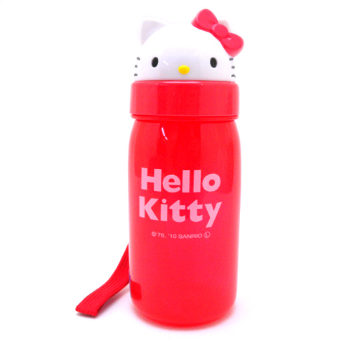 茶具杯子_Hello Kitty-造型吸管水壺-紅結
