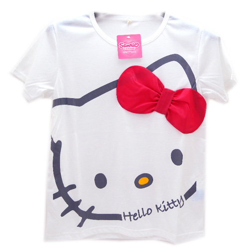 Hello Kitty_Hello Kitty-大臉蝴蝶結棉T-白