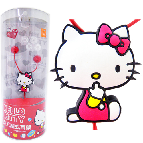 音響耳機_Hello Kitty-糖果風造型耳機-側坐紅