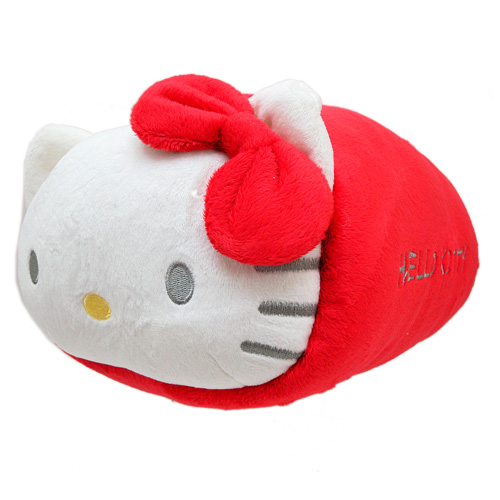 抱枕_Hello Kitty-頭型長筒午安枕-紅結