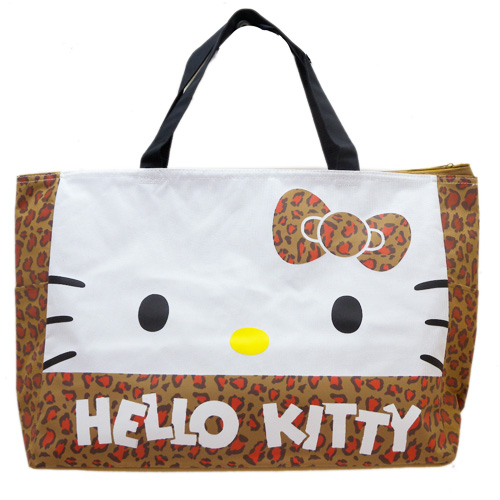 手提包袋_Hello Kitty-購物袋-KT豹紋棕