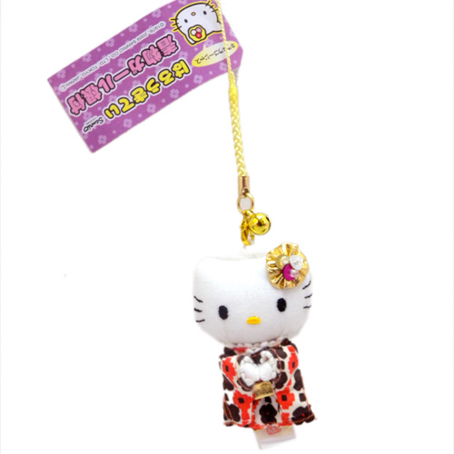 流行百貨_Hello Kitty-和服造型根付吊飾-正身橘