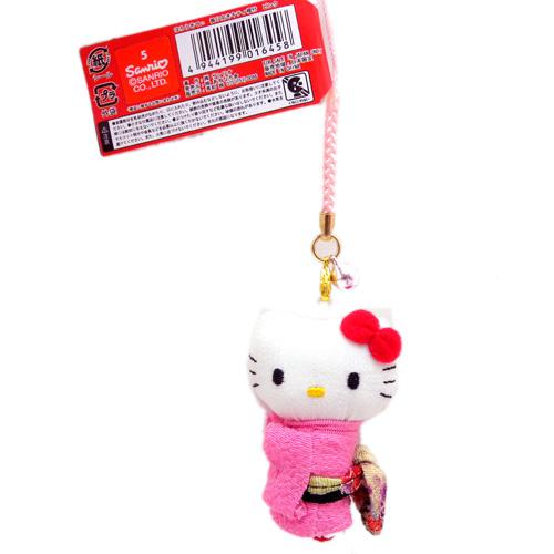 流行百貨_Hello Kitty-和服造型根付吊飾-側身粉