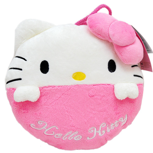 抱枕_Hello Kitty-超綿柔Q版圓形抱枕S-粉結