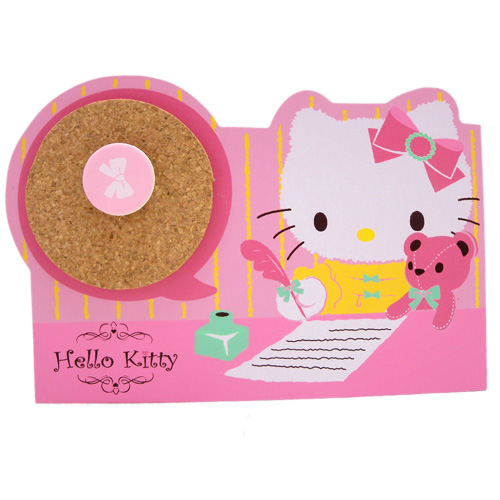 生活日用品_Hello Kitty-木製雙格留言置物筒-抱熊