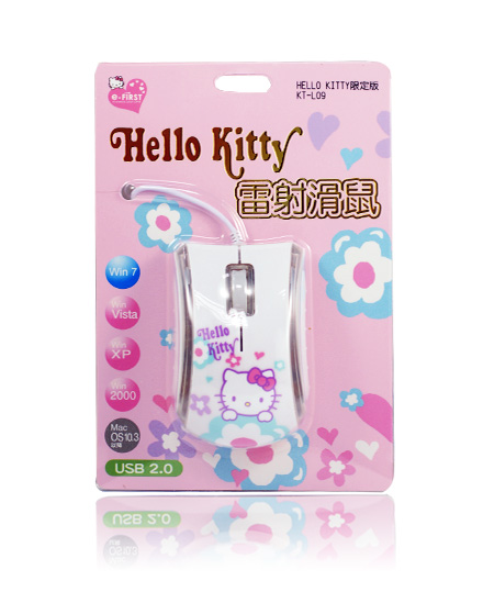 滑鼠鍵盤_Hello Kitty-雷射滑鼠-小花白