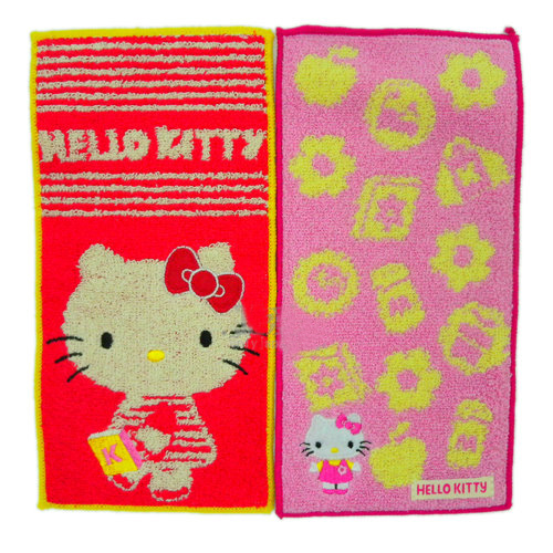 衛浴用品_Hello Kitty-抗菌小方巾2入-紅&粉