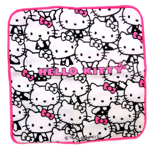 衛浴用品_Hello Kitty-小方巾-白底滿版多姿態