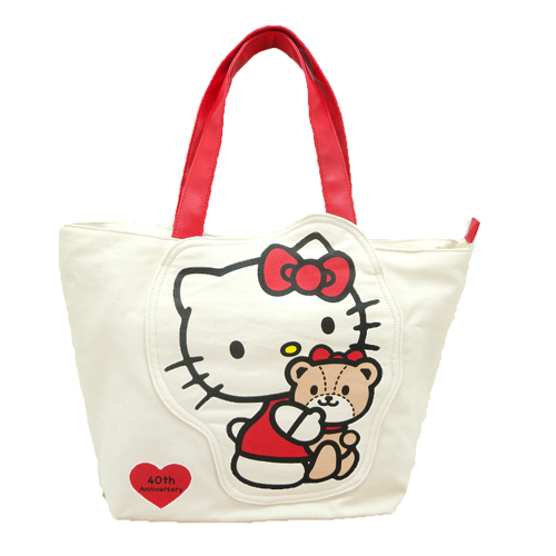 手提包袋_Hello Kitty-40th紀念帆布包L-HUG紅結