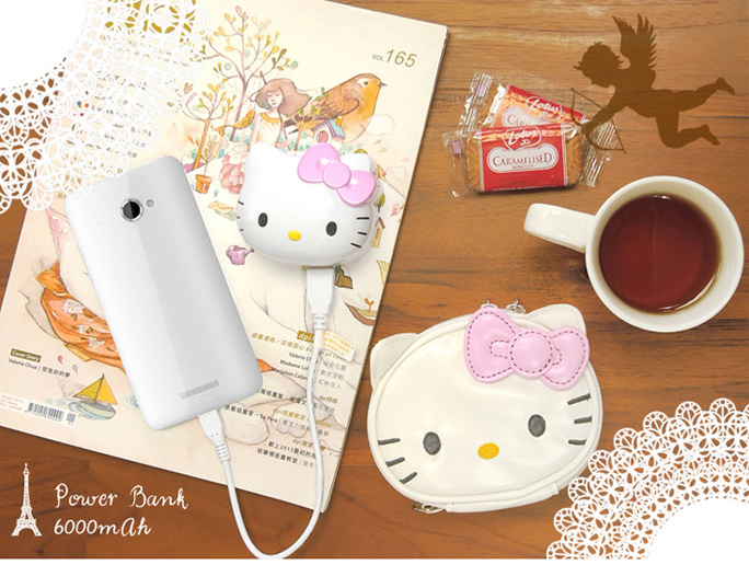 電子3C館_Hello Kitty- 行動電源-KT頭型粉結