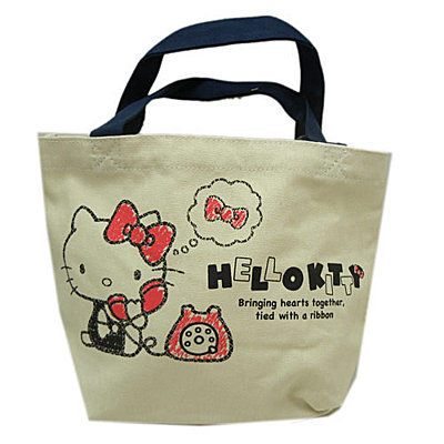 手提包袋_Hello Kitty-  帆布小提袋-KT電話米