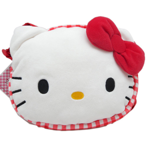 包包_Hello kitty-限定版頭型側背包-紅結紅格
